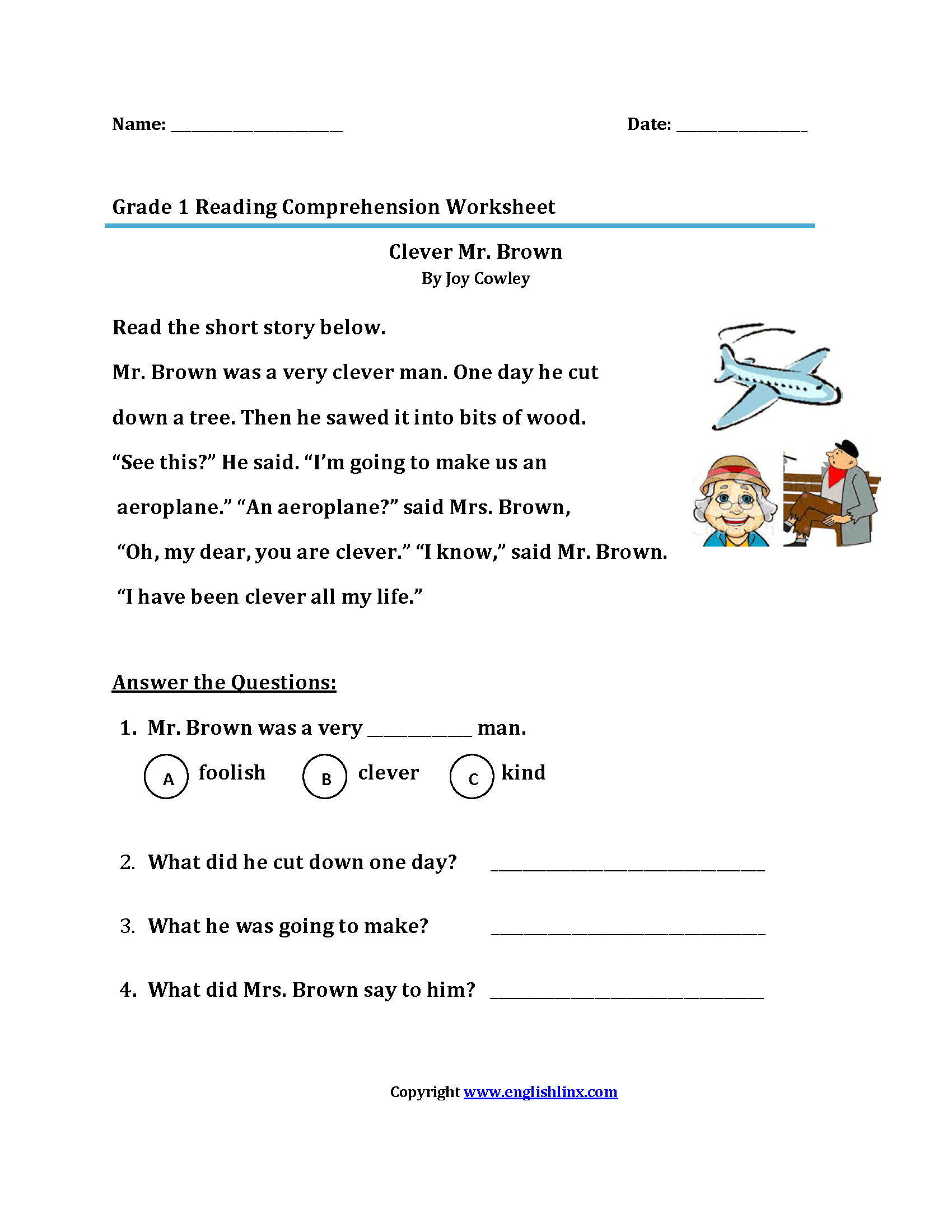 Worksheet 1st Grade Worksheets Reading Grass Fedjp