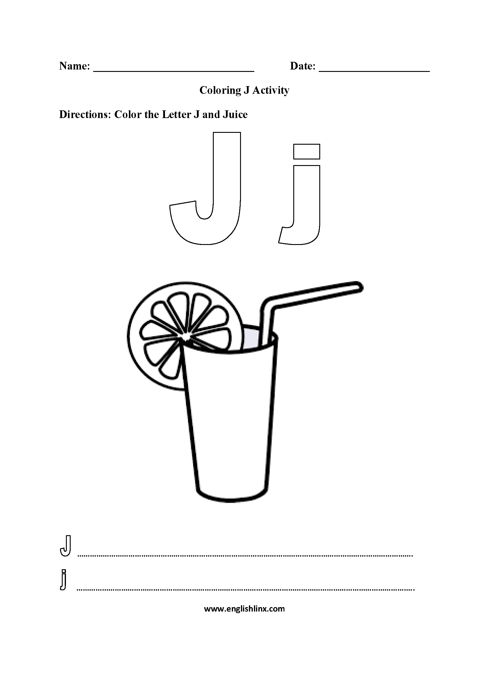 Letter J Worksheet Coloring Pages