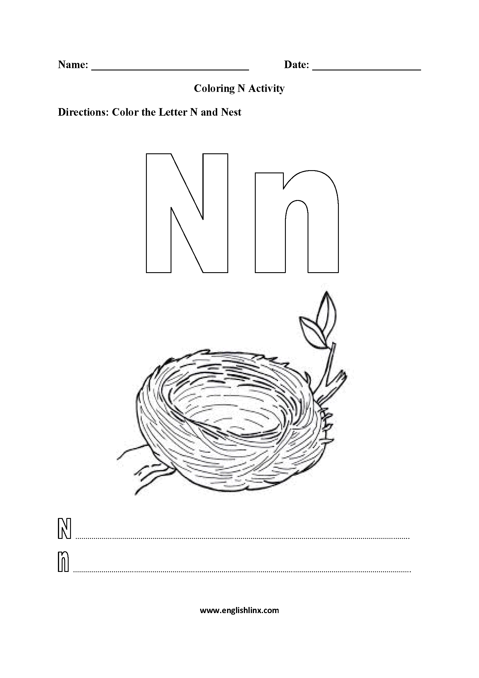 Letter N Worksheets Coloring Pages