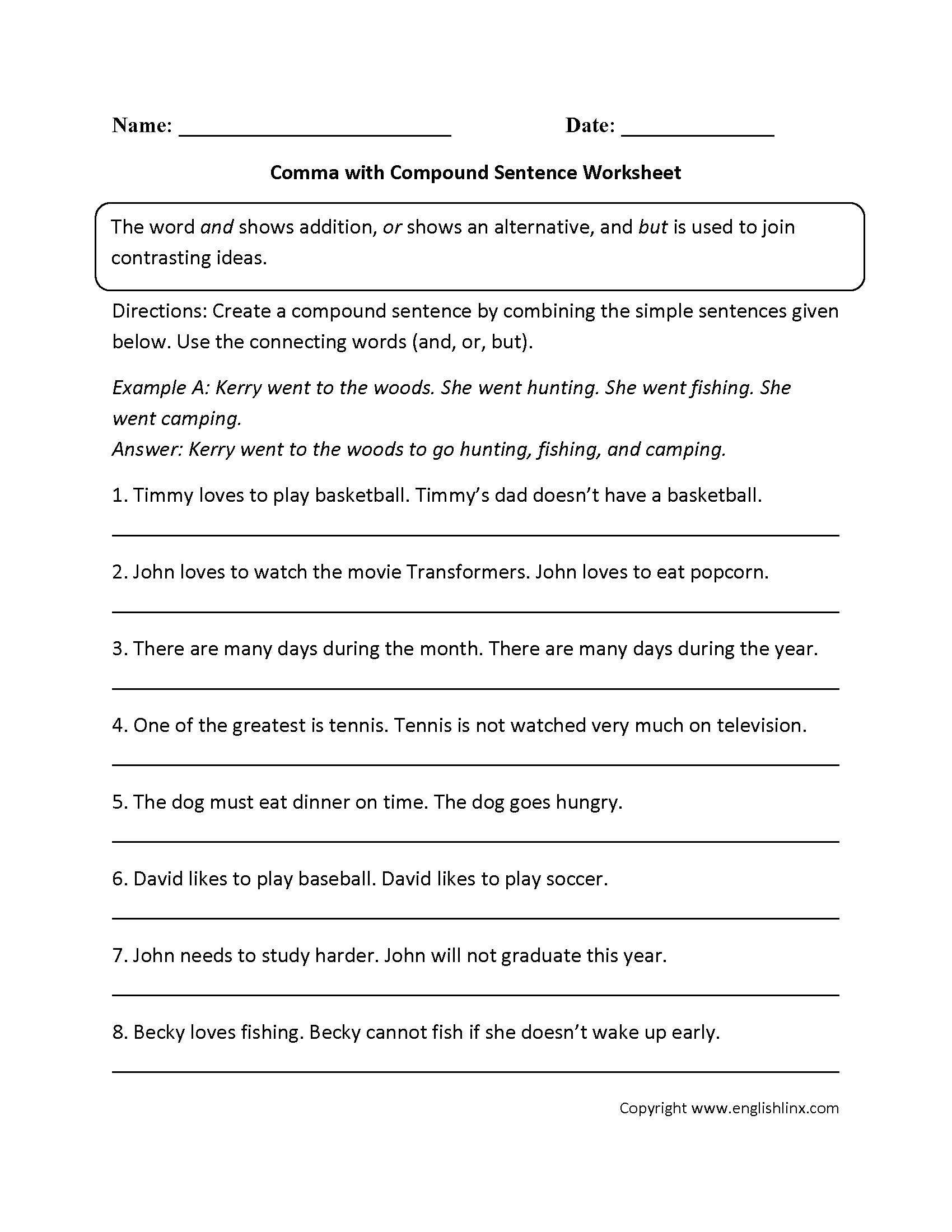 Free Printable Semicolon Worksheets