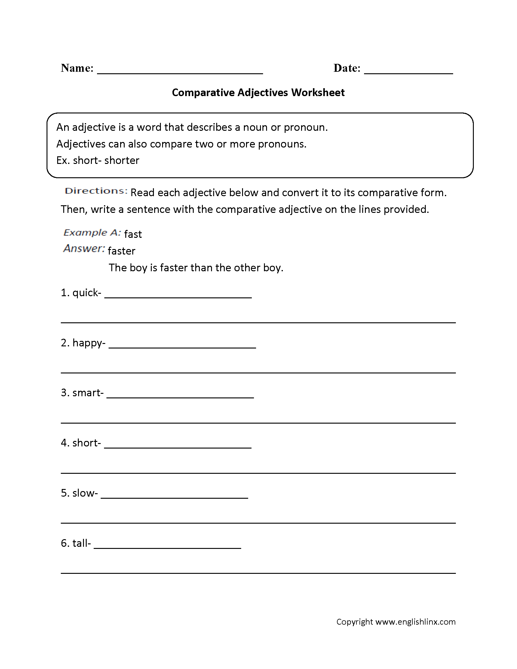 Free Worksheets For 3rd Grade Adjectives