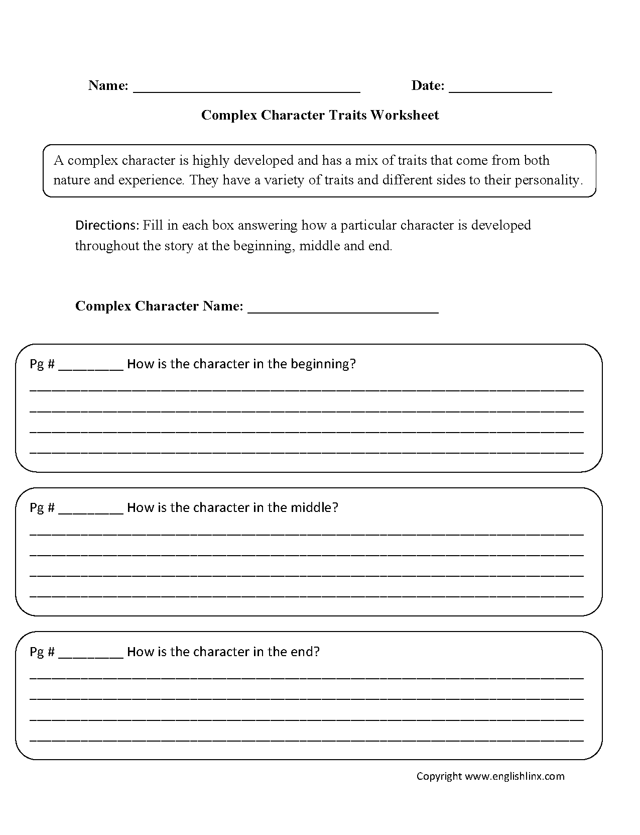 Complex Character Traits Character Trait Descriptive