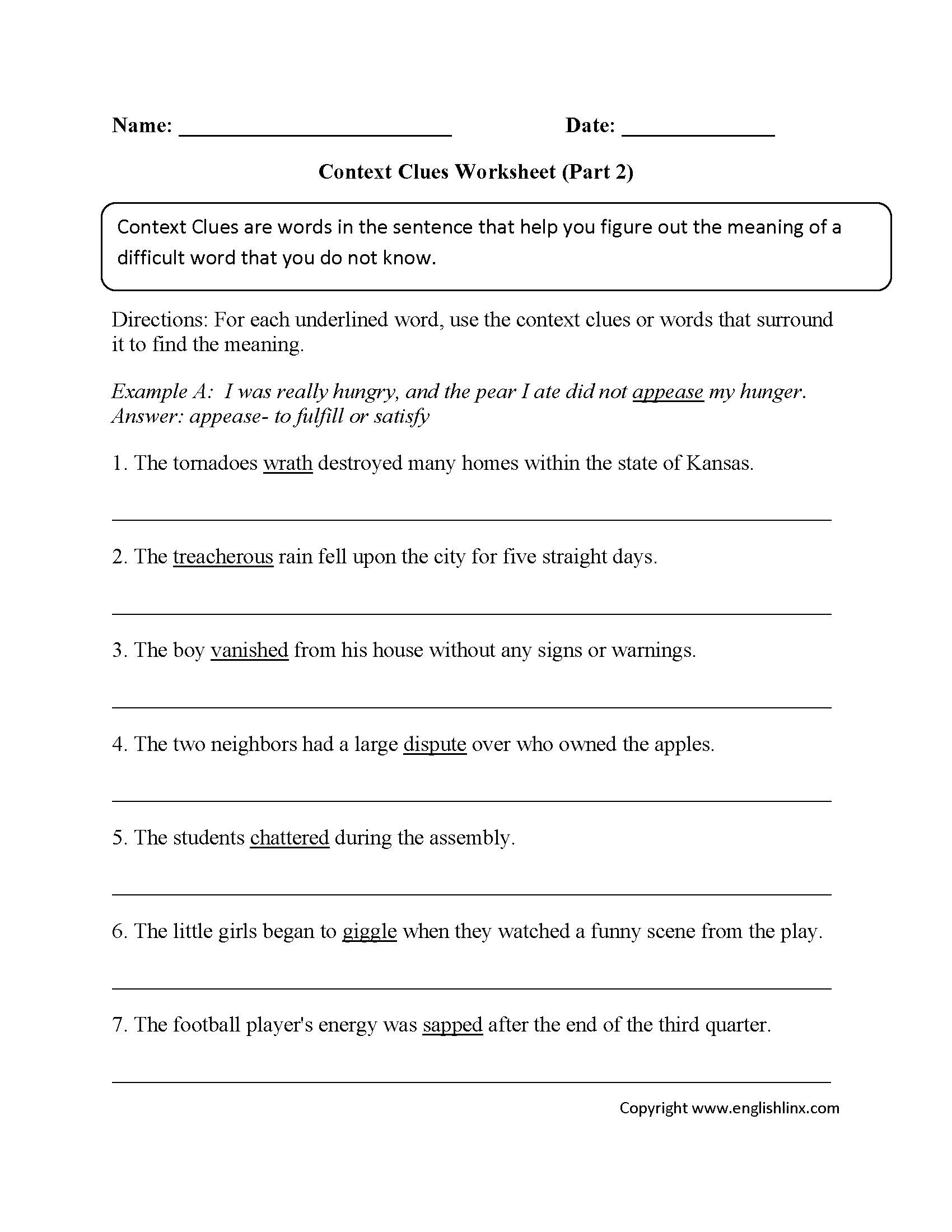 Worksheets Types Of Context Clues Worksheets Waytoohuman
