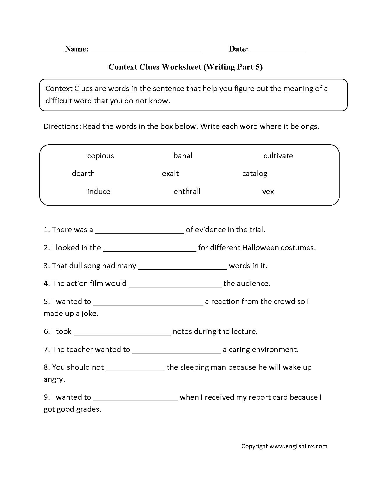Language Art Worksheet For Grade 1
