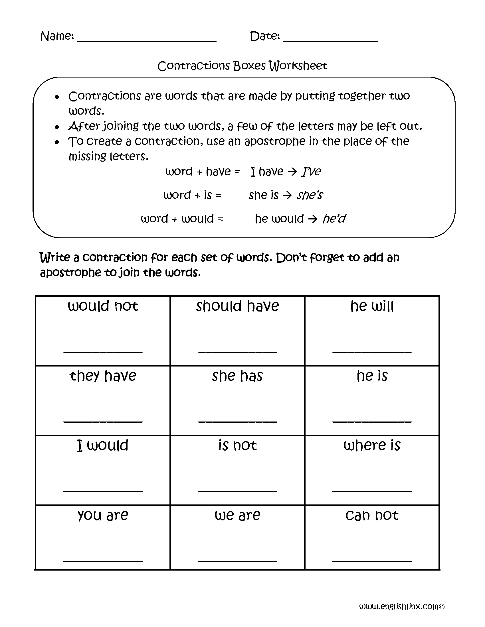 Contraction Worksheets For Third Grade