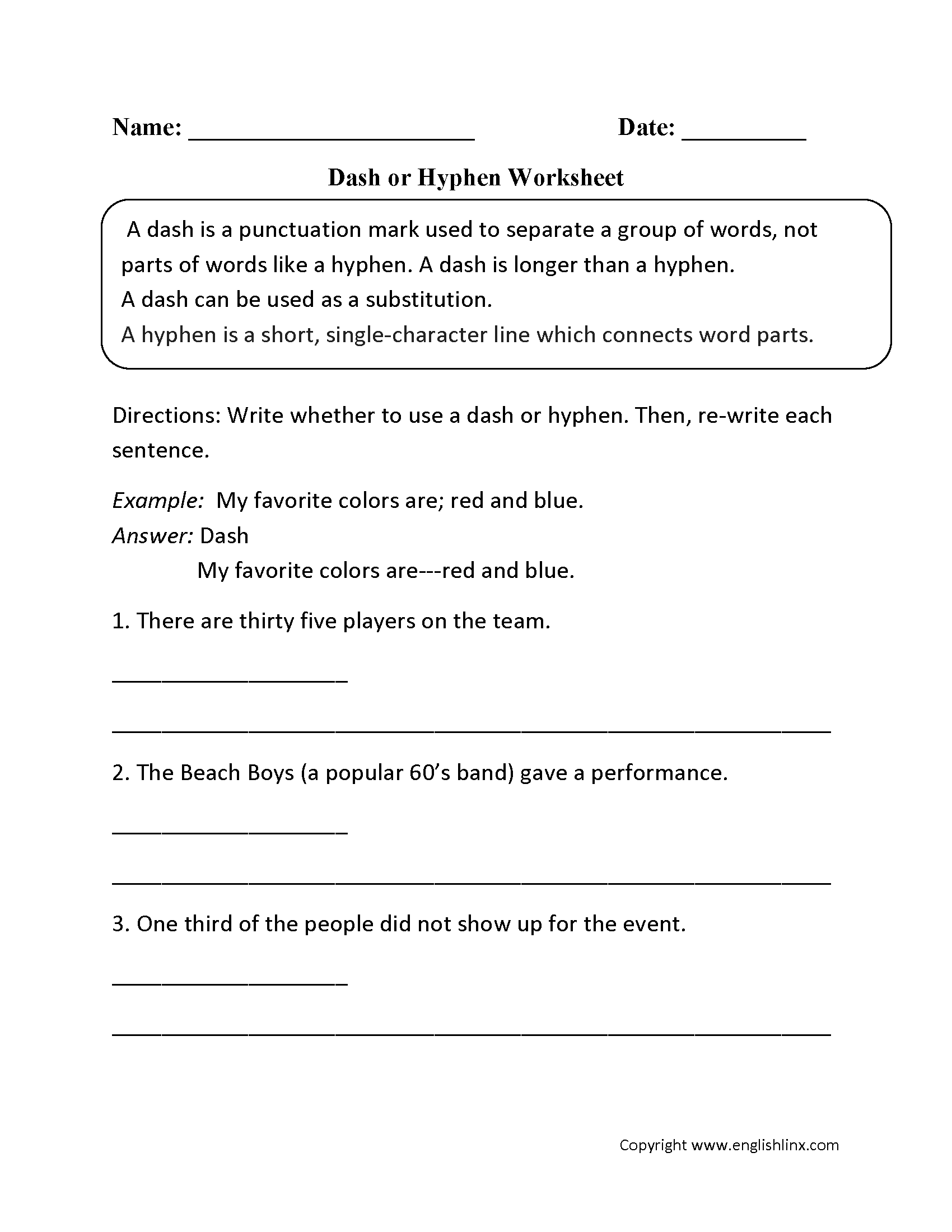 Grammar Worksheet For Dash