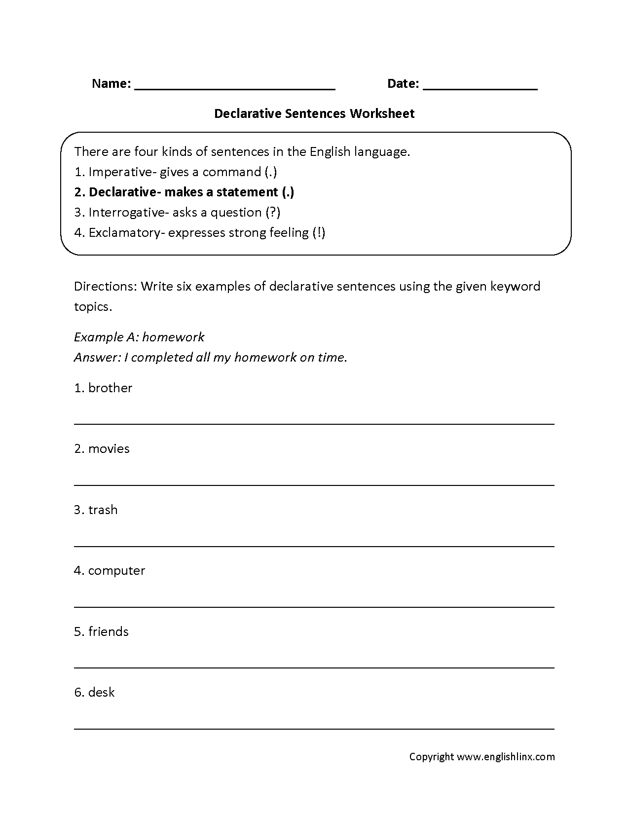Types Of Sentences Worksheets