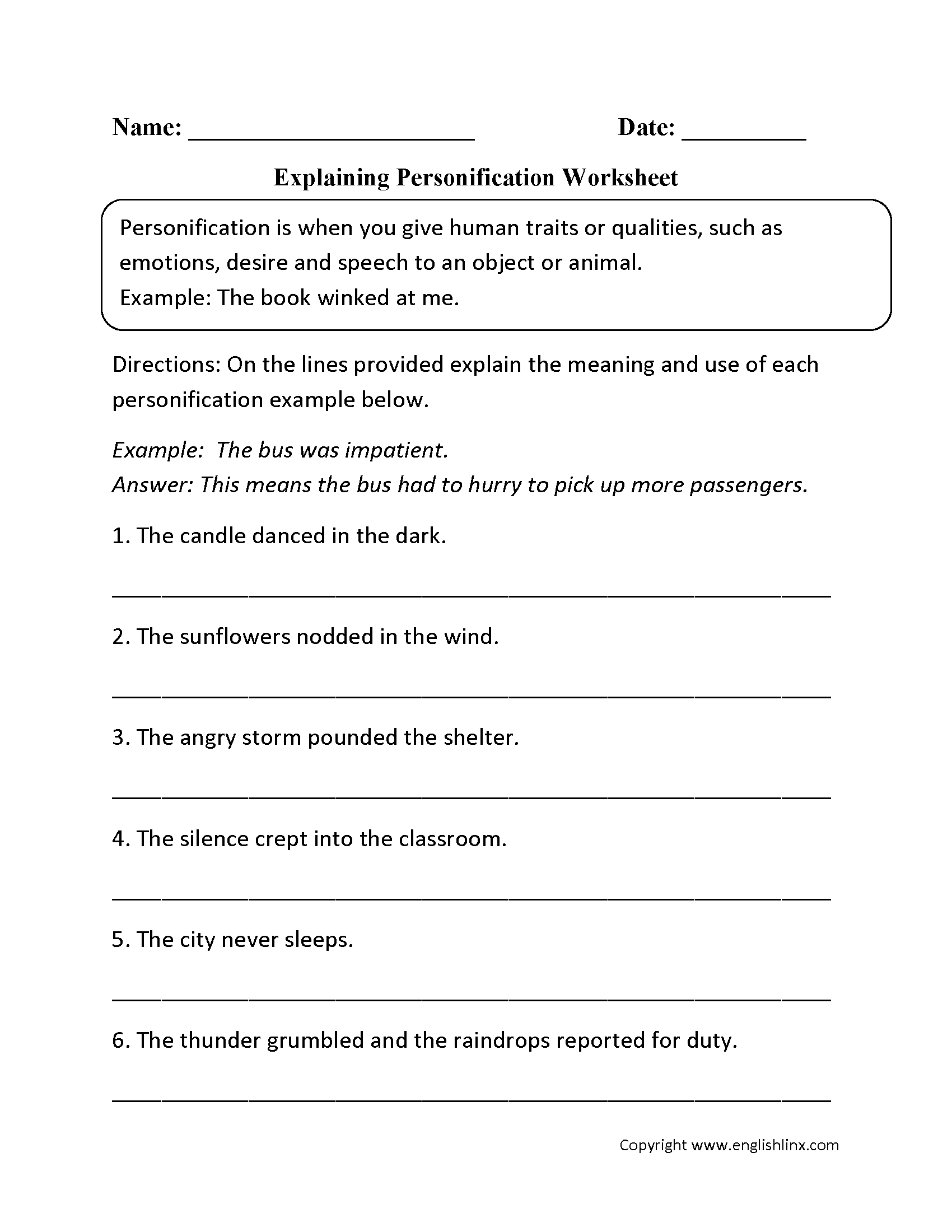Personification Print Worksheets Images