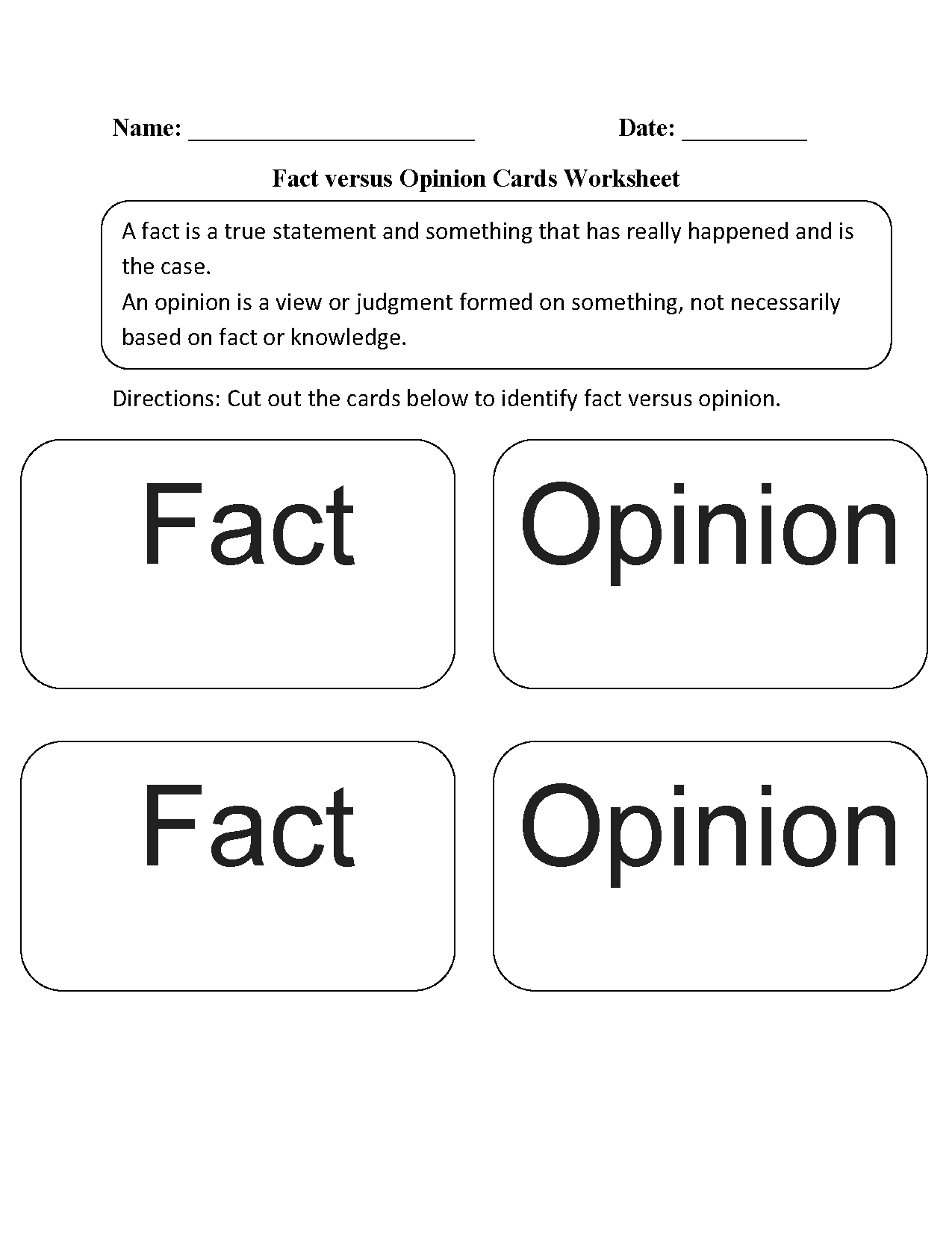 Fact Opinion Worksheet High School