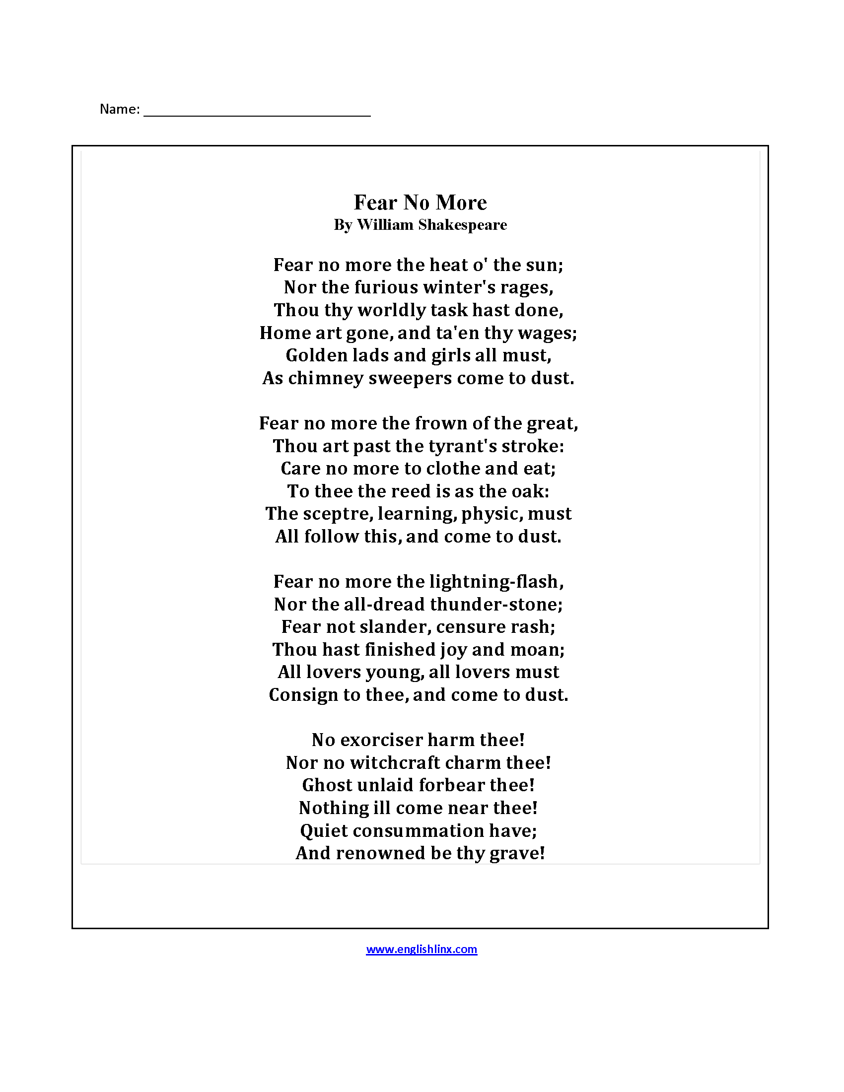 Poem With Questions Worksheet