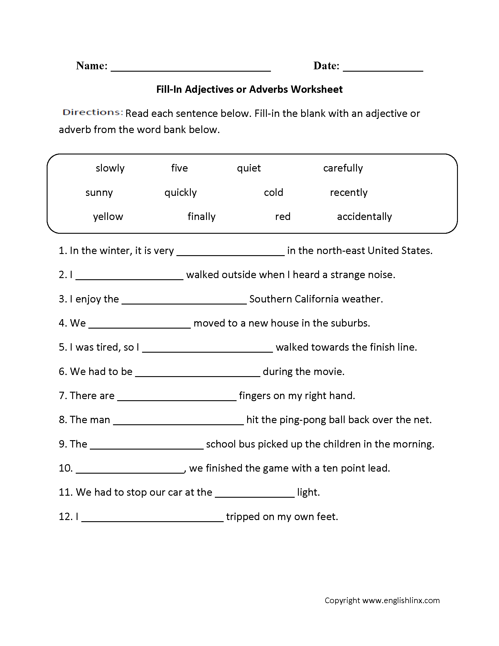 Worksheets On Adjectives For Grade 4