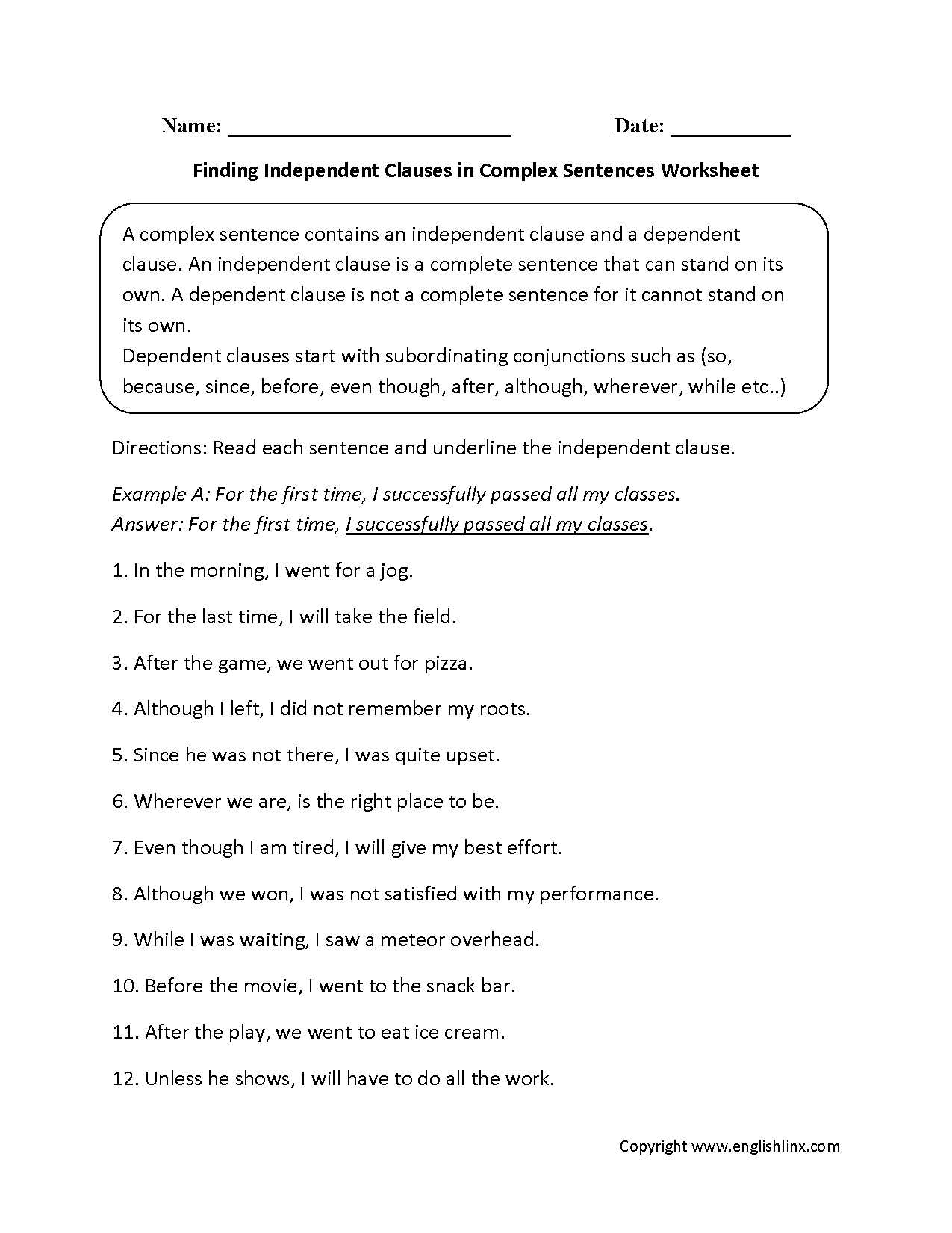 Sentences Worksheets