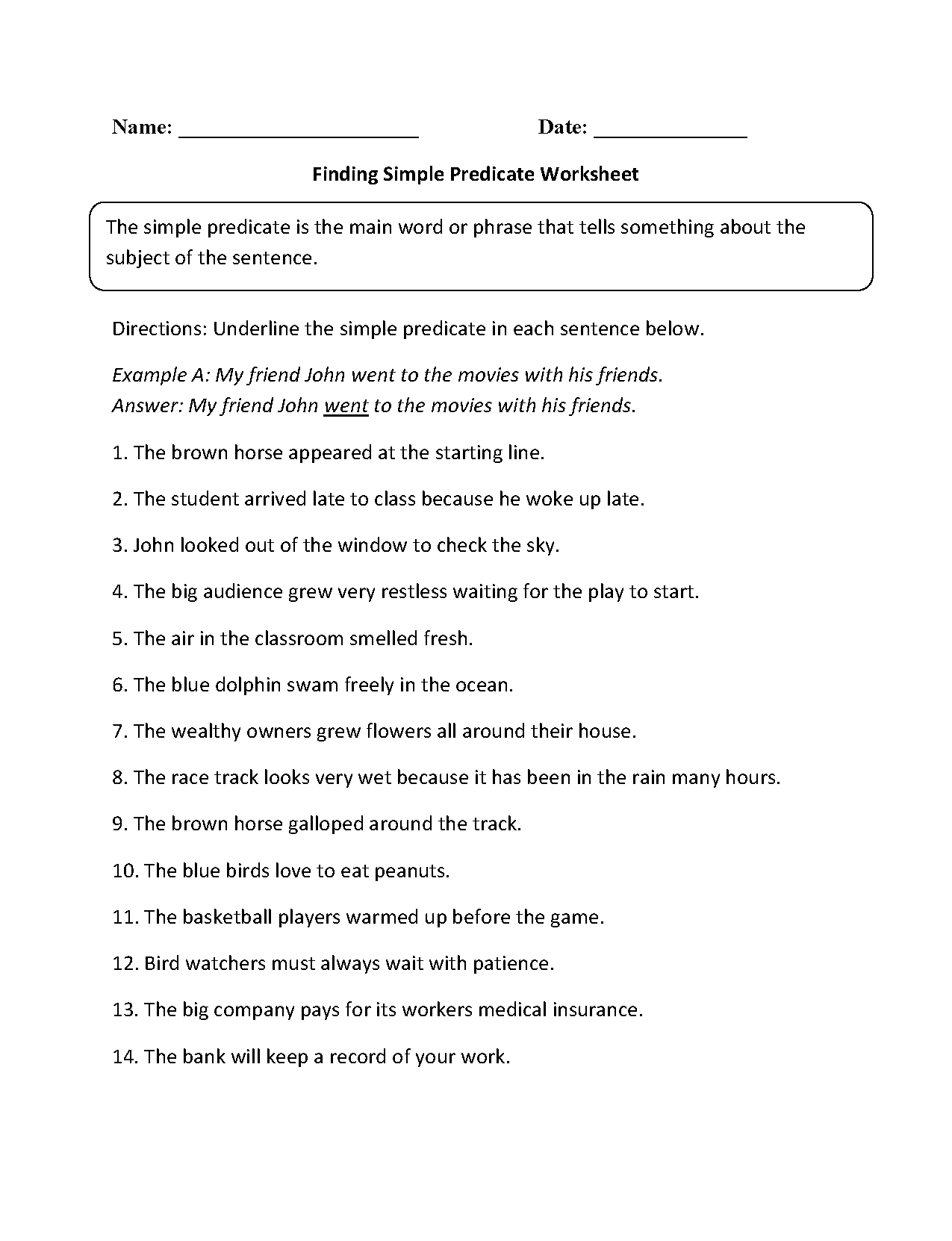 Worksheet Subjects And Predicates Worksheets Grass Fedjp
