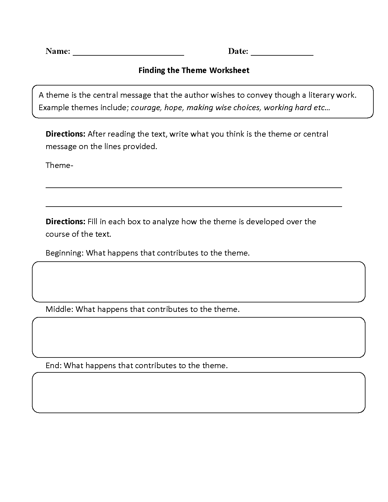 Theme Worksheet For 2nd Grade