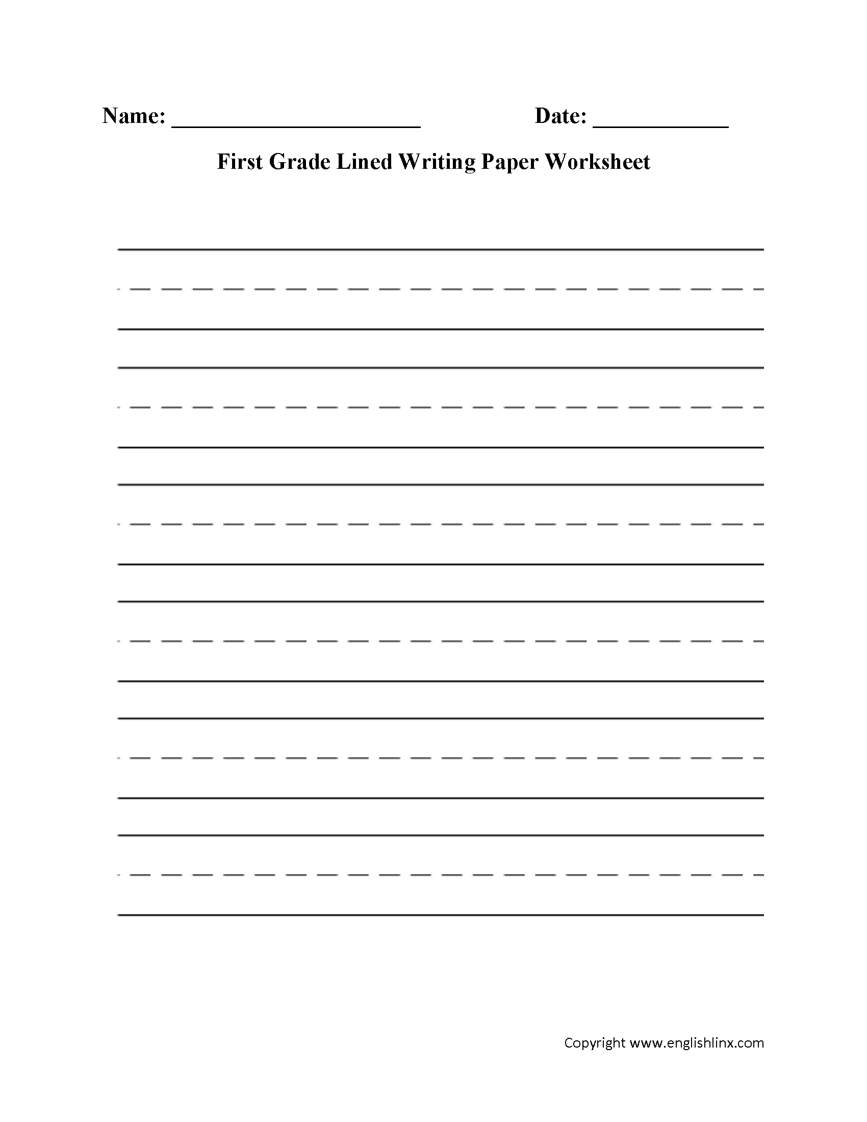 First Grade Writing Worksheet For Letters