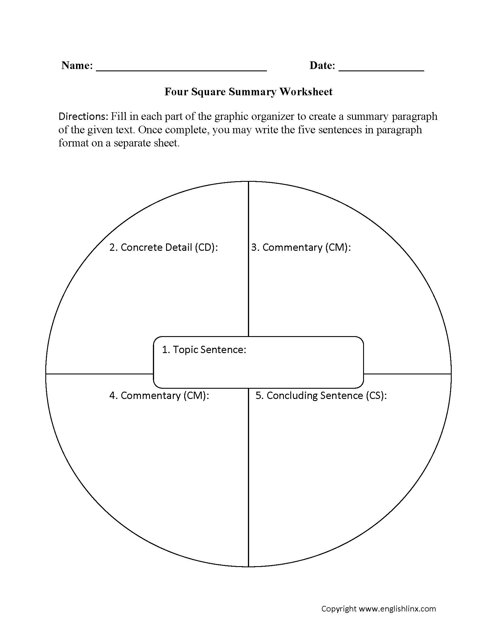 Summary Worksheets