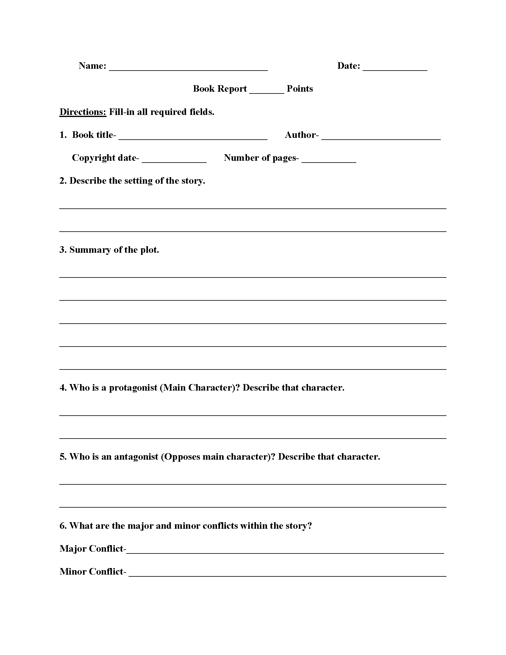 Poetry Book Report Worksheet