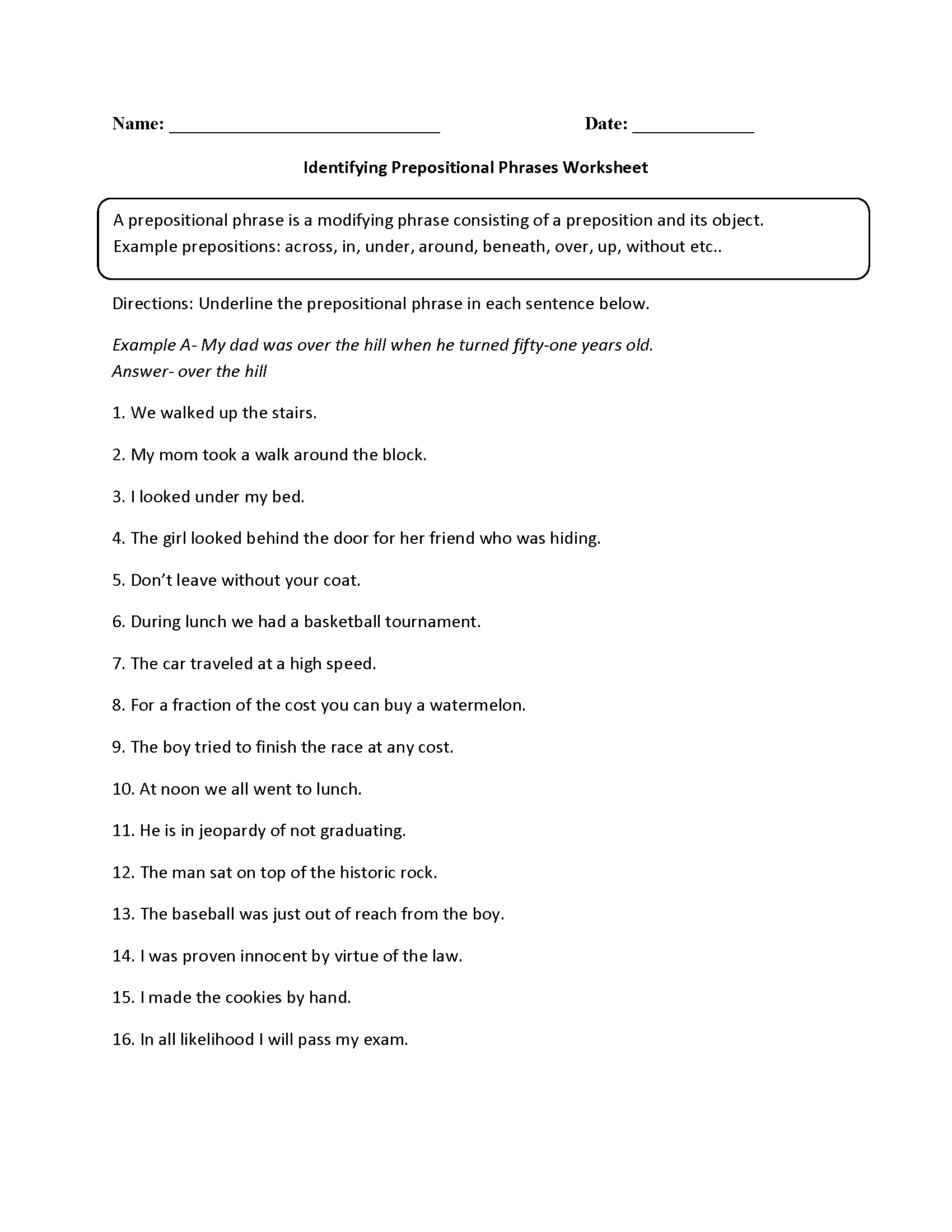 Prepositional Phrases Worksheets