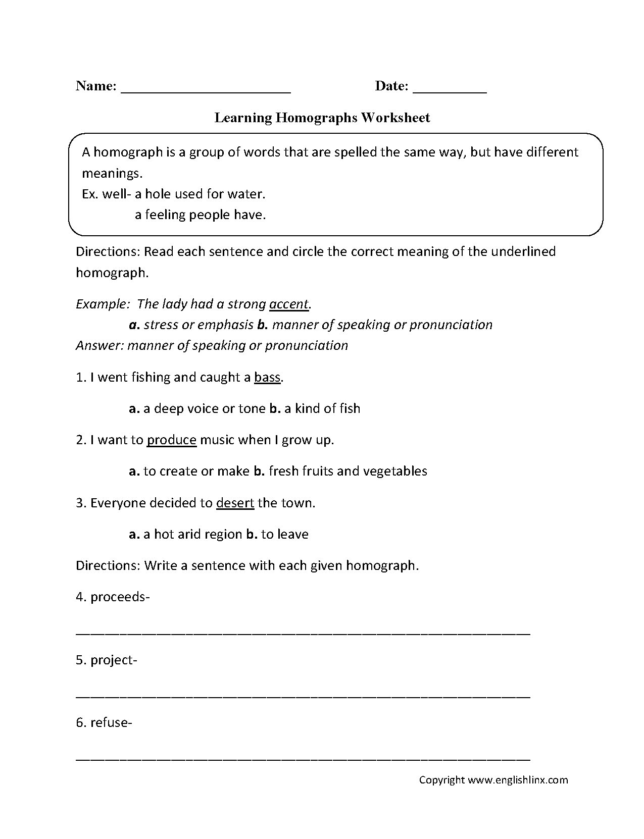 Homonyms Worksheets For Grade 2