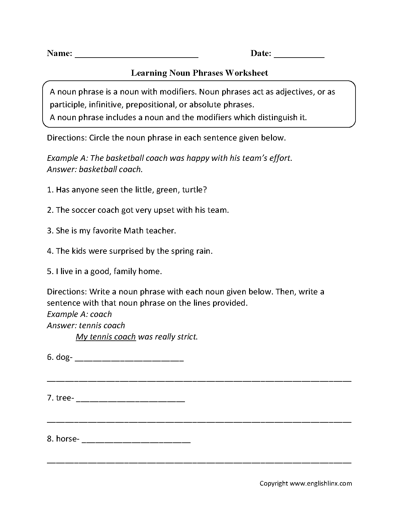 Adjectives Worksheet Sixth Grade