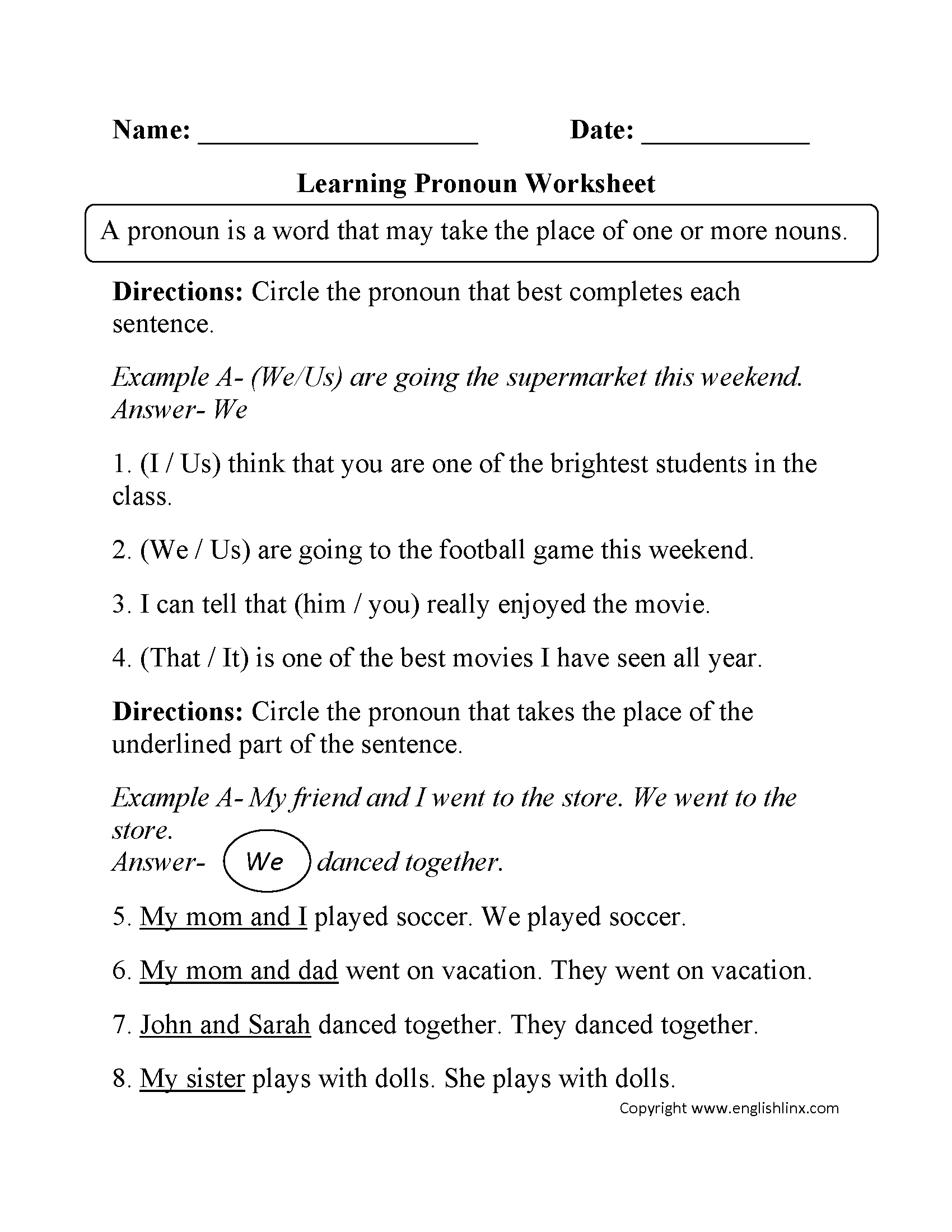 Demonstrative Pronouns Worksheet For Grade 1 With Pictures