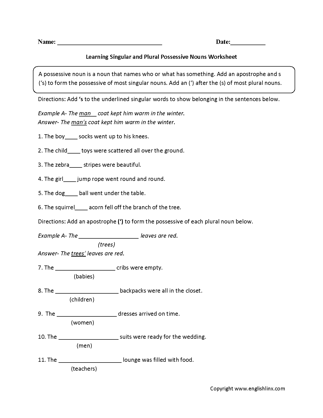 Super Teacher Worksheet Possessive Nouns