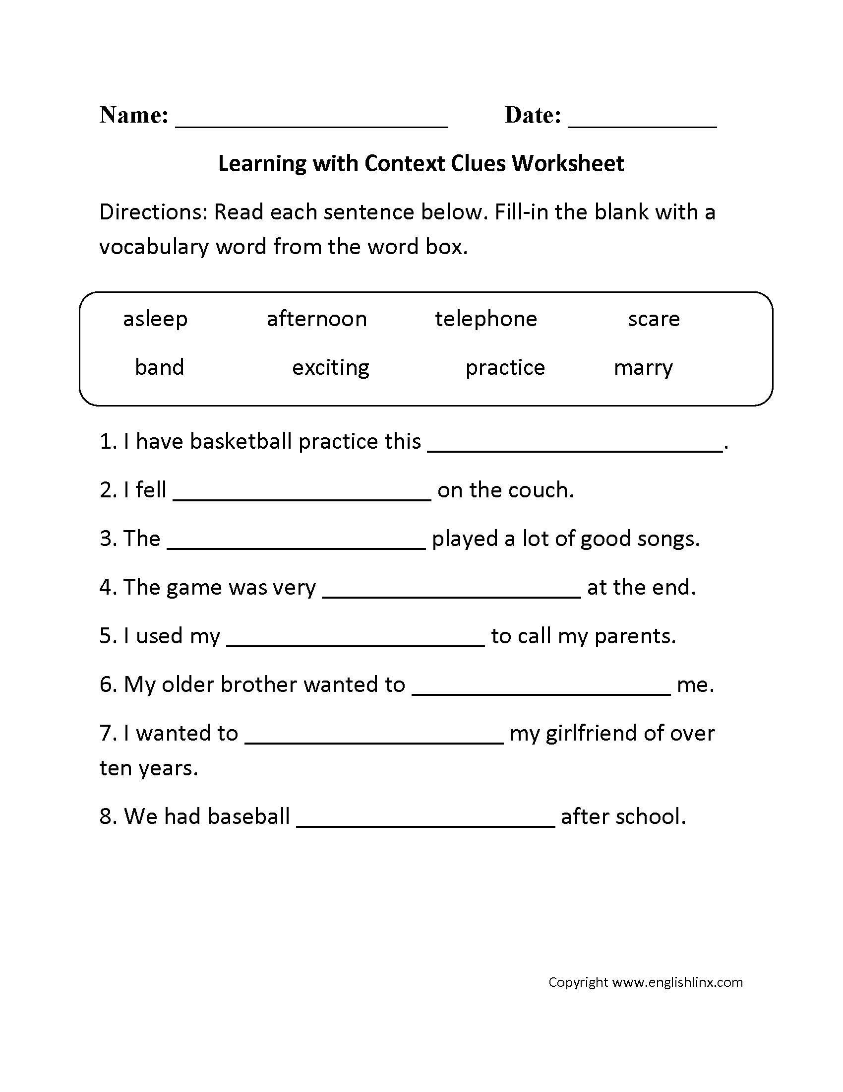 Vocabulary In Context Worksheet