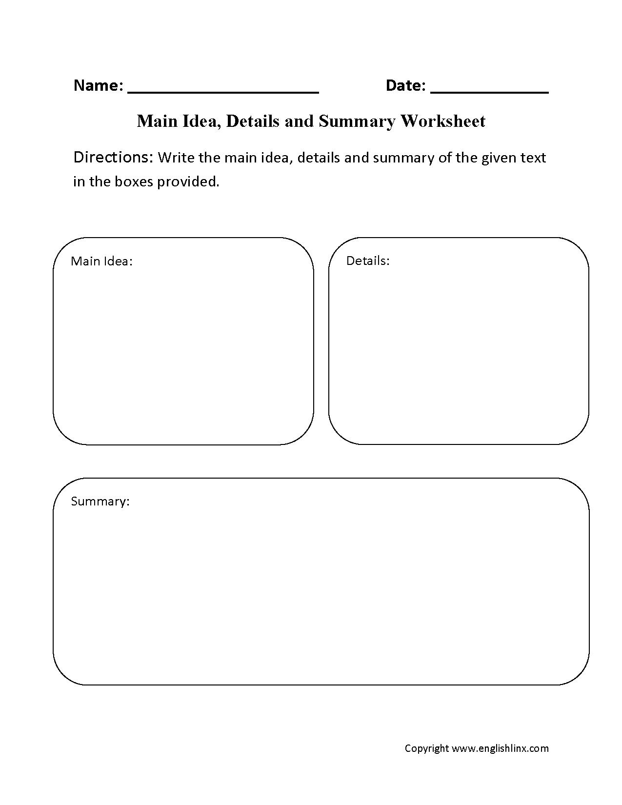 Main Idea Worksheets 4th Grade