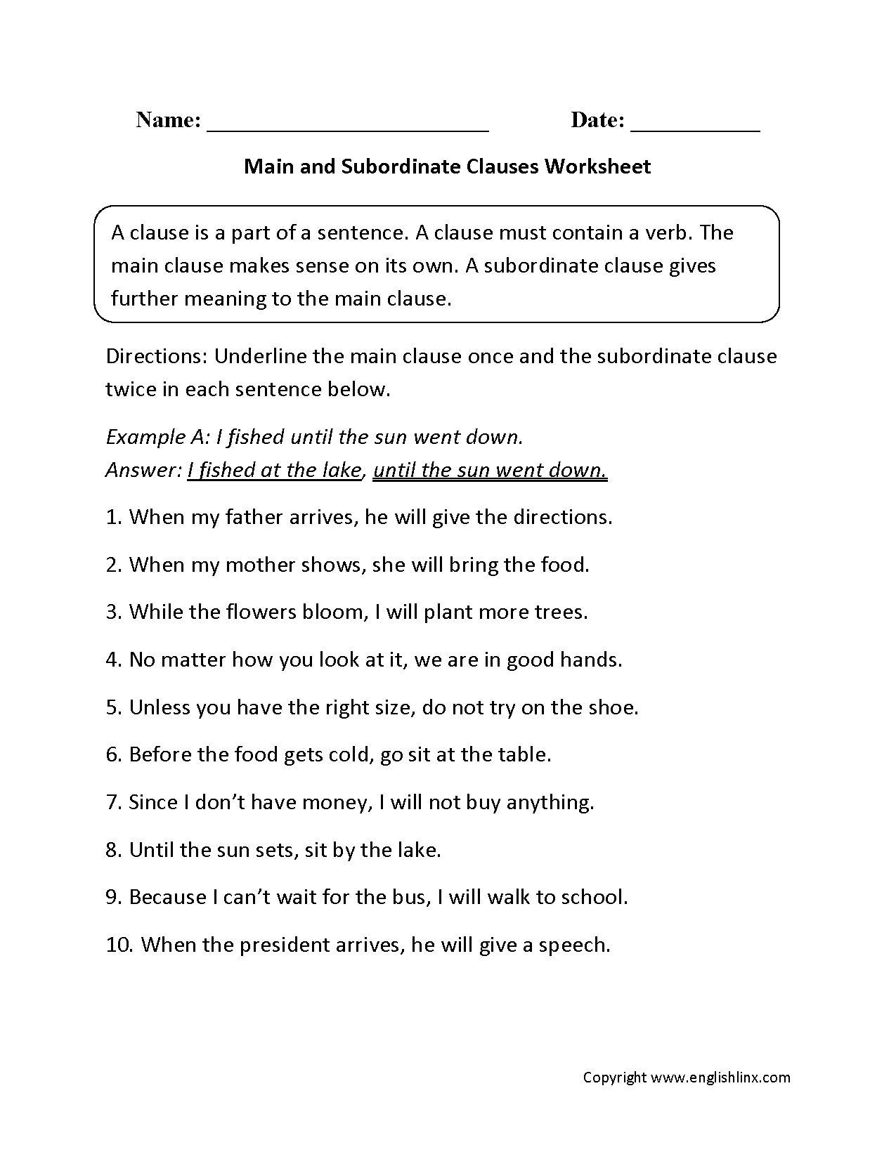 Comma Practice Worksheet 7th