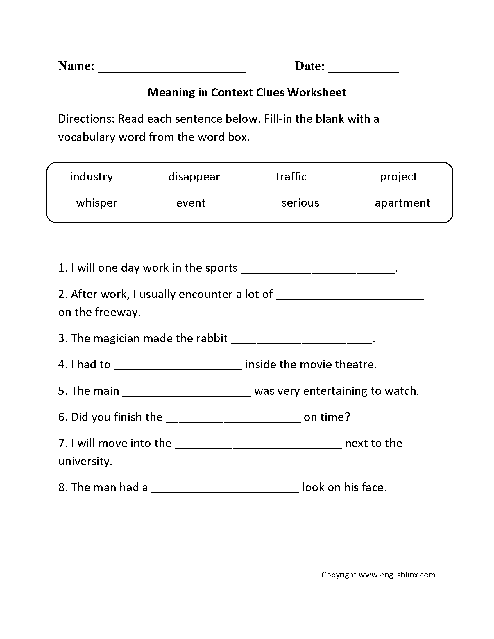 Context Clues Practice Worksheets 4th Grade