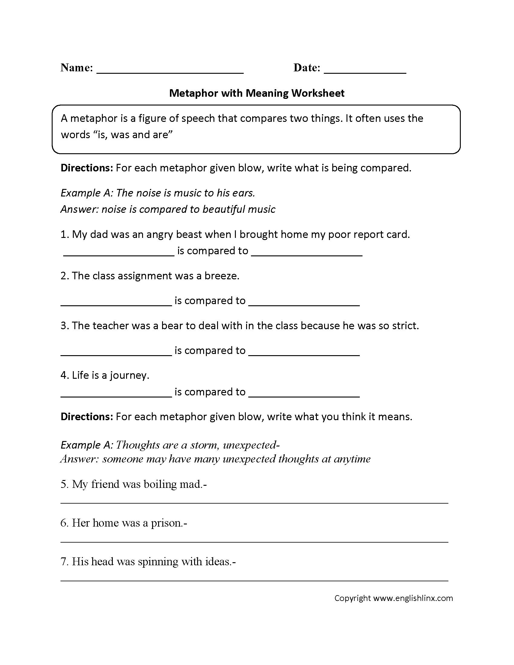 Simile Worksheets 5th Grade