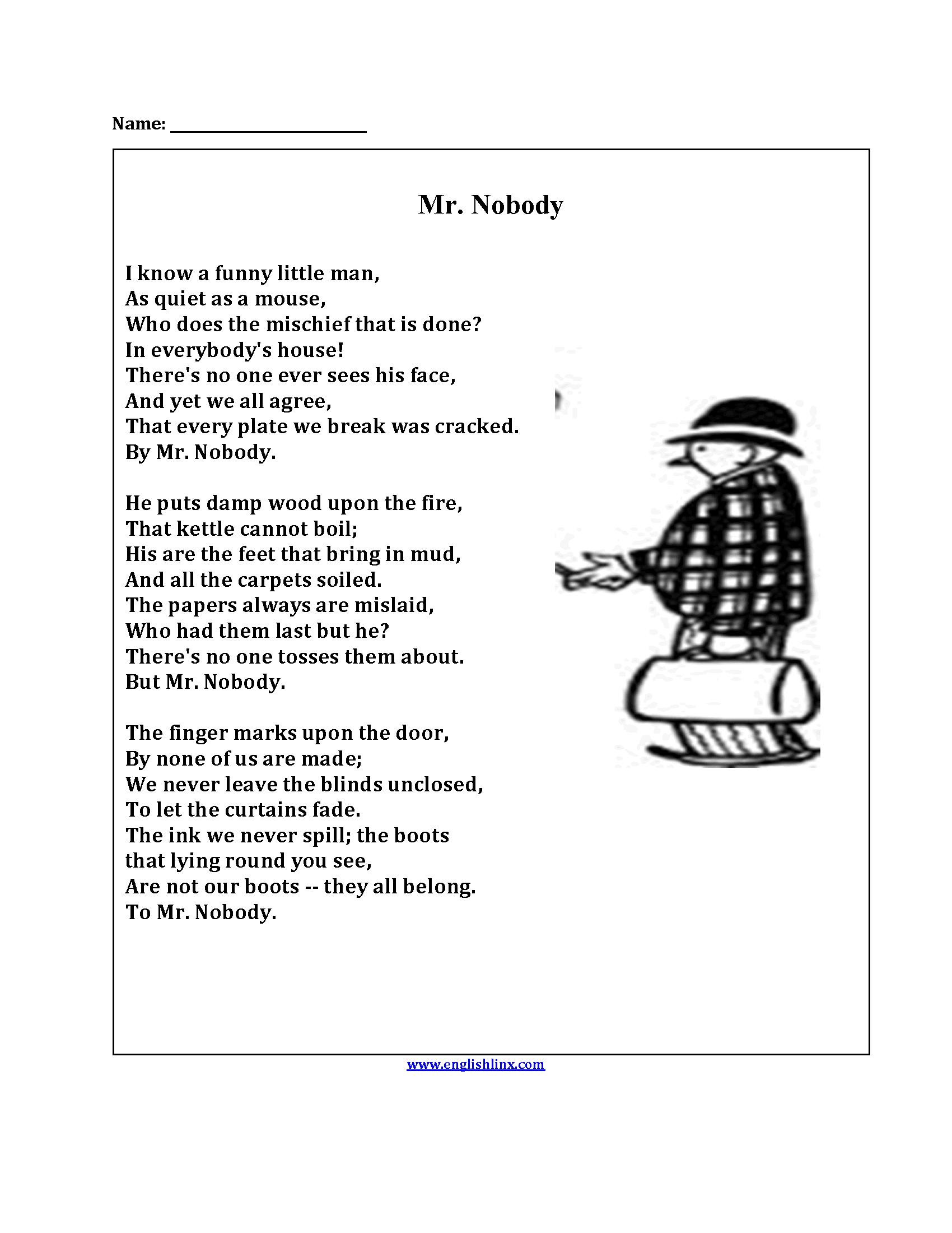 Poetry Meter Practice Worksheet