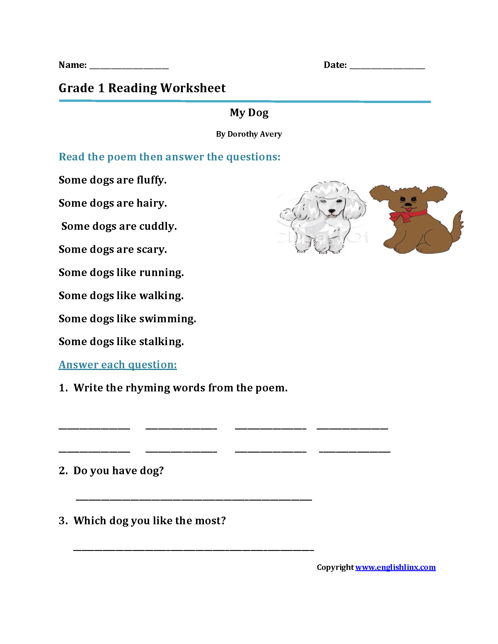 Printables Of First Grade Reading