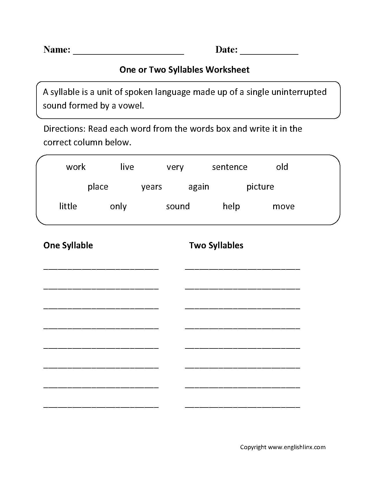 Syllables Worksheet Grade 1