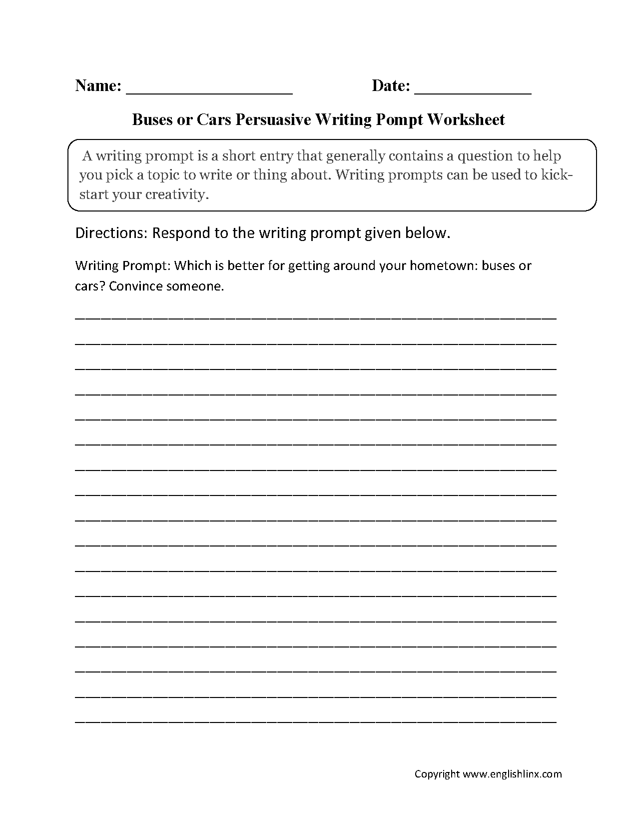 Writing Prompts Worksheets