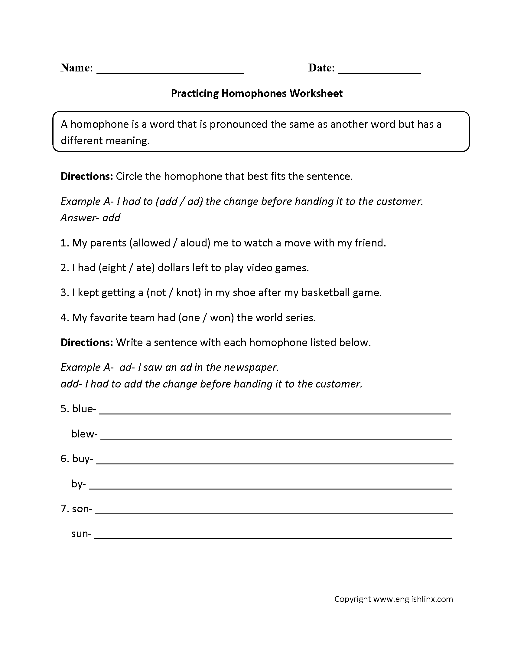 Homophone Worksheet Grade 5
