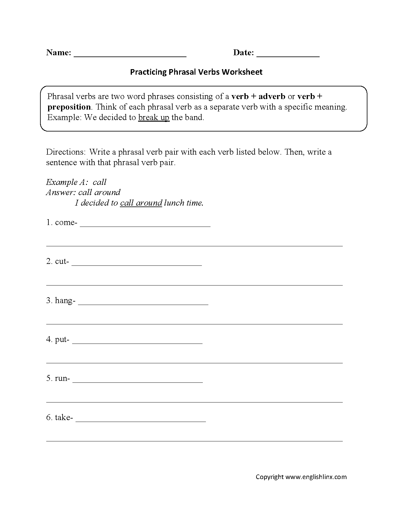 Worksheet On Phrasal Verbs For Grade 4