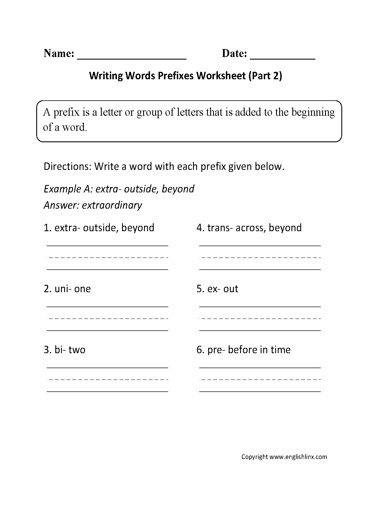 Pre Writing Worksheets Middle School