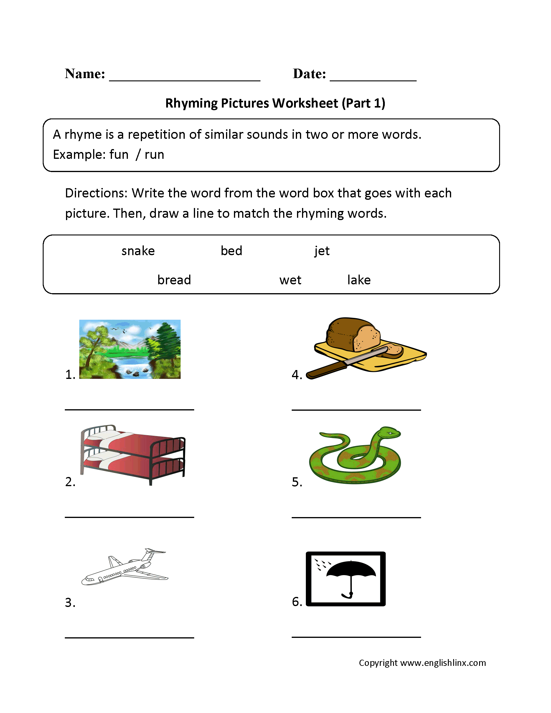 Rhyming Words For Grade 1