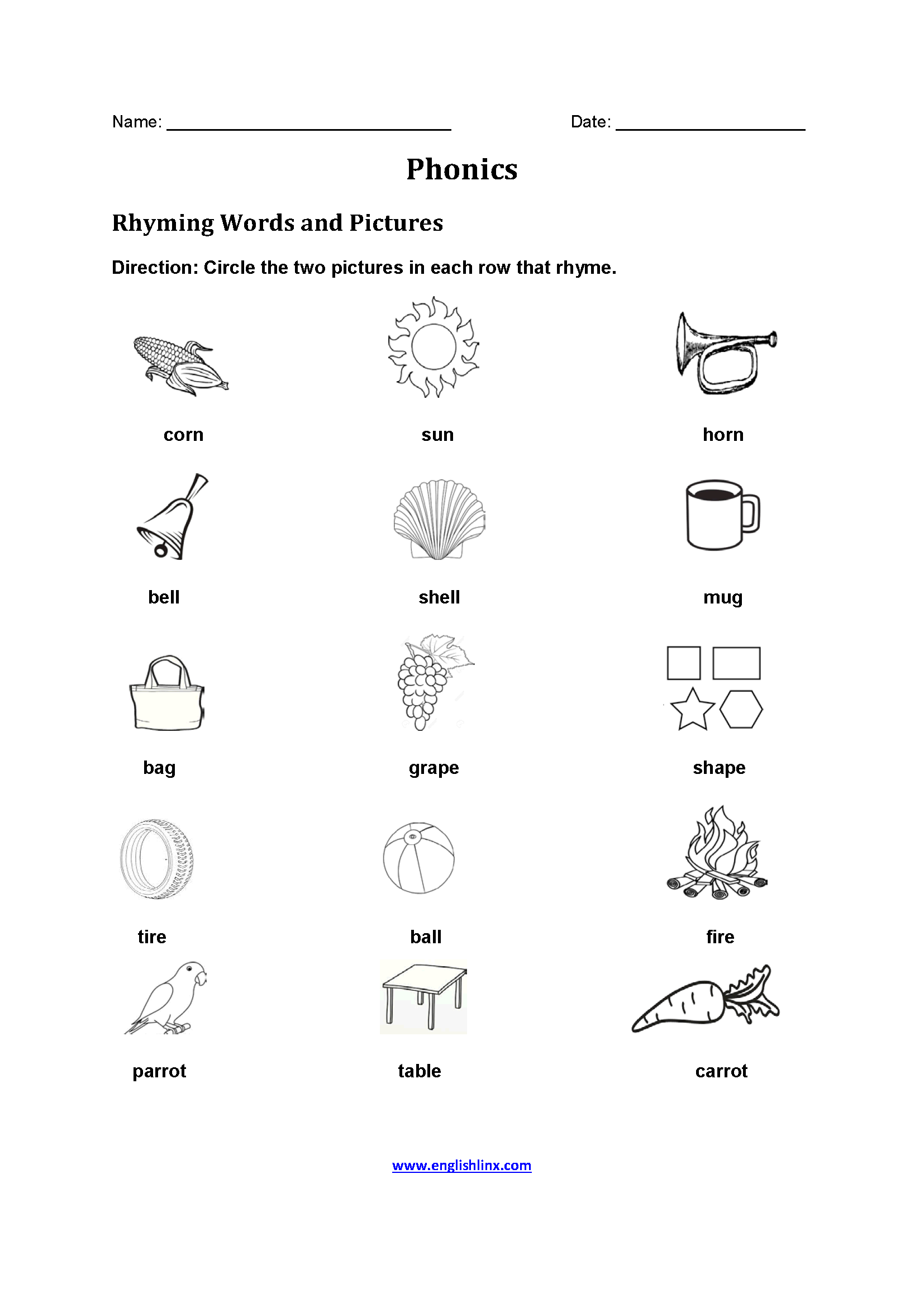 Rhyming Words Worksheet 5th Grade