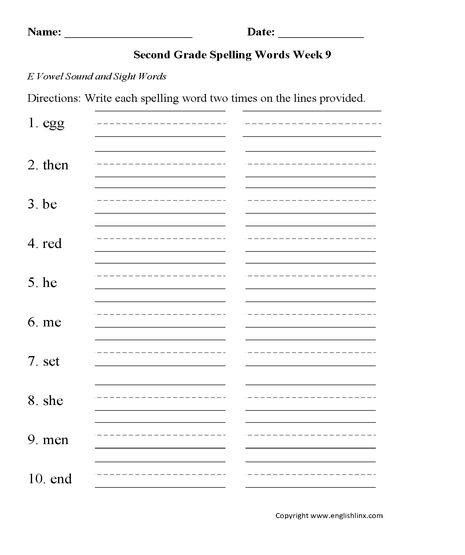 Spelling Worksheets