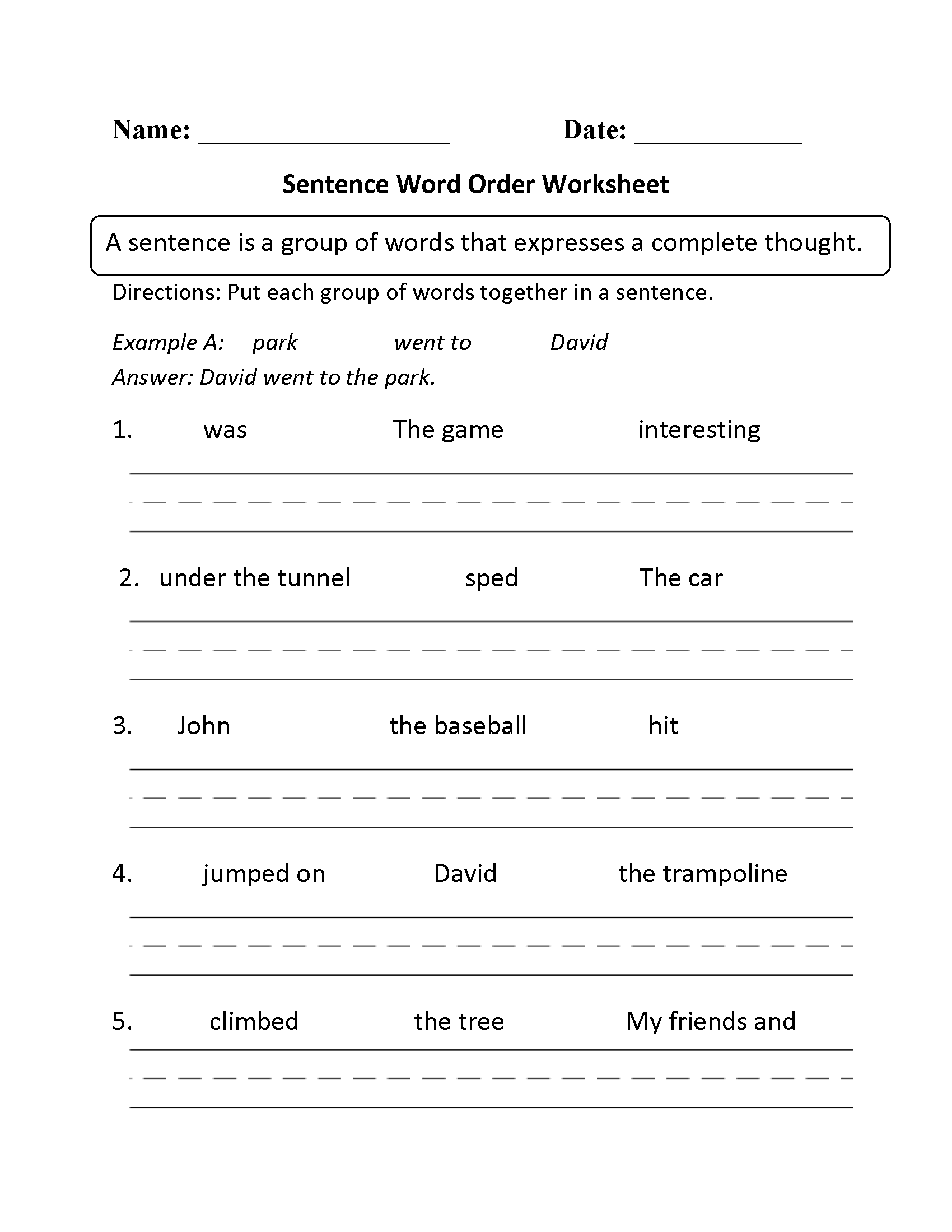 6th Grade Sentence Structure Worksheets