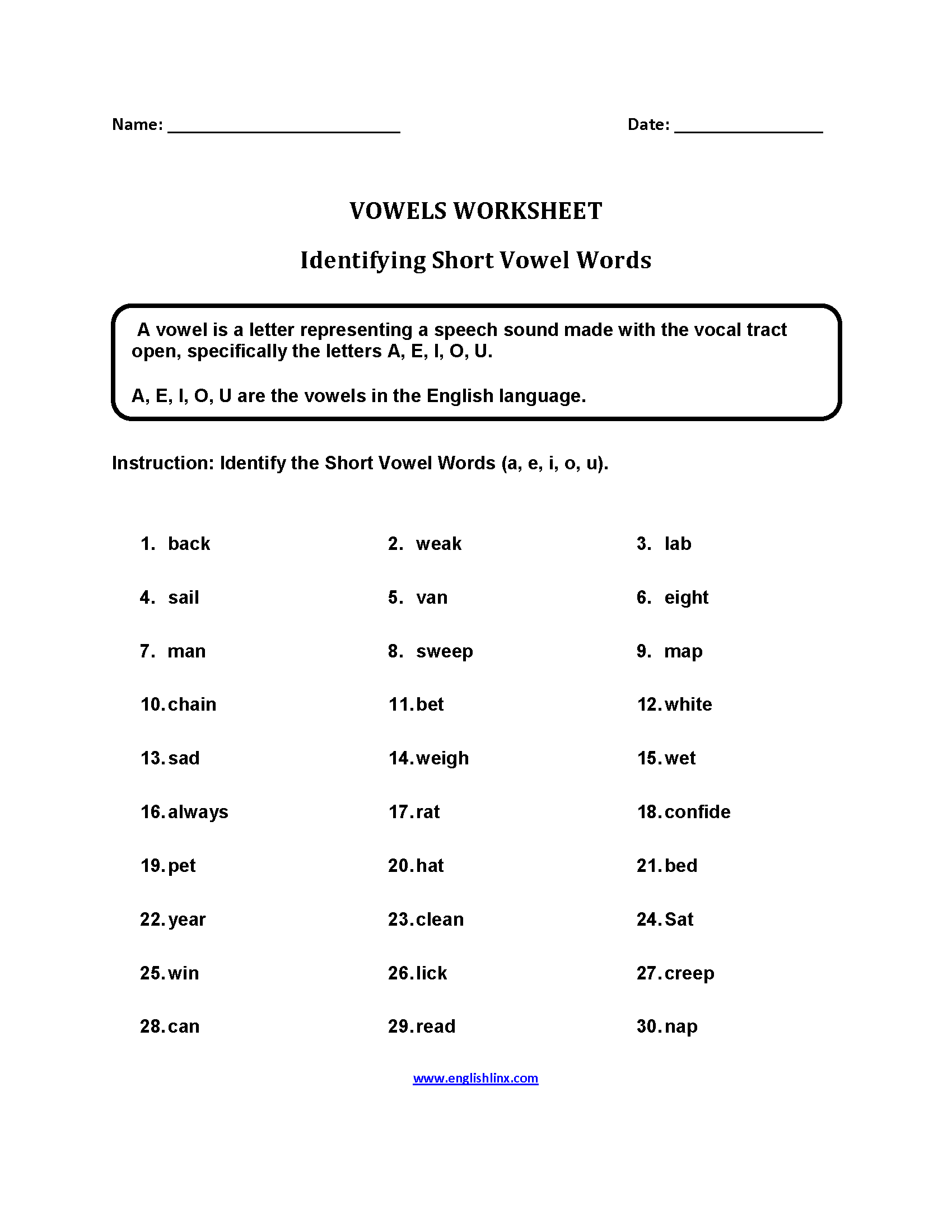 Printables Of Worksheet For Short Vowel Words