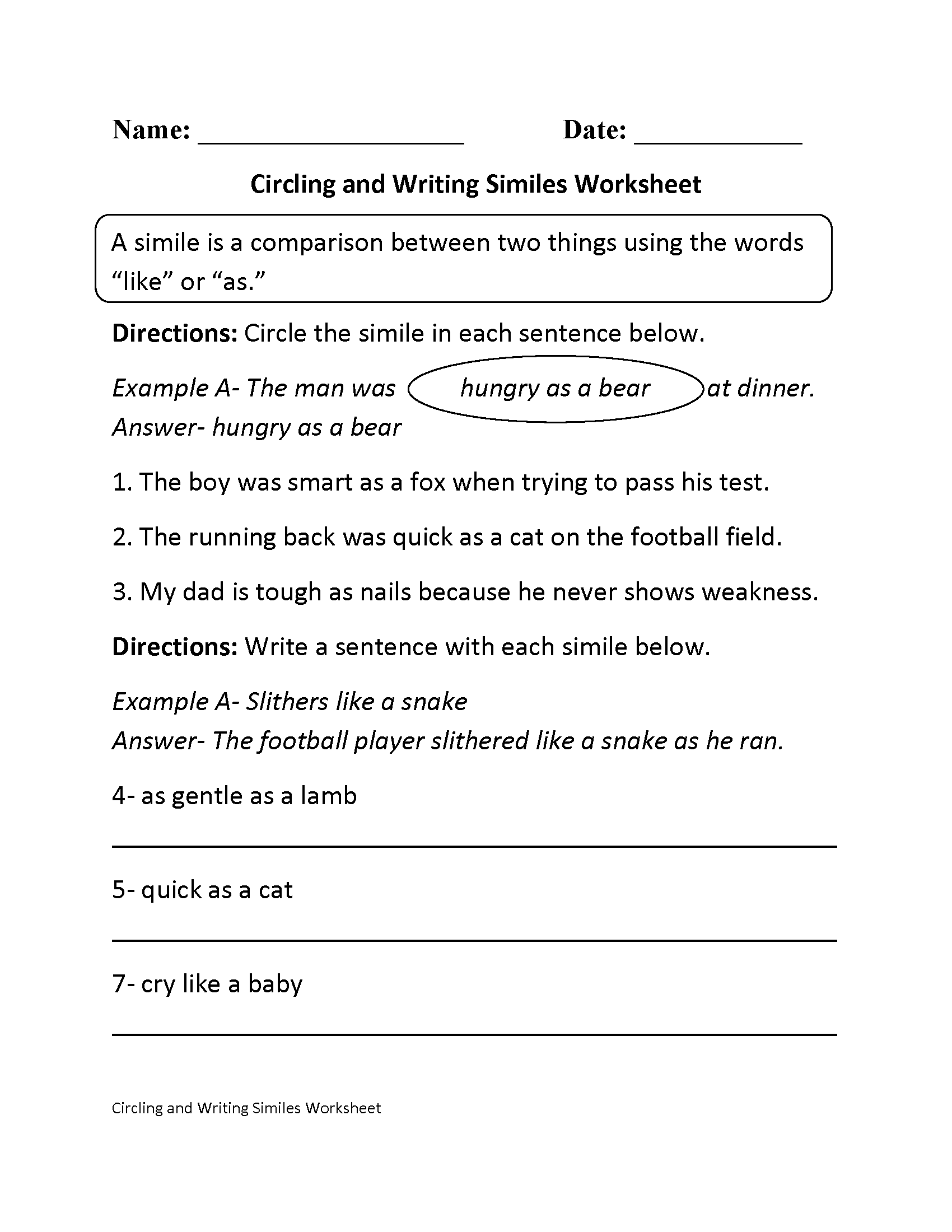 Similes Worksheets