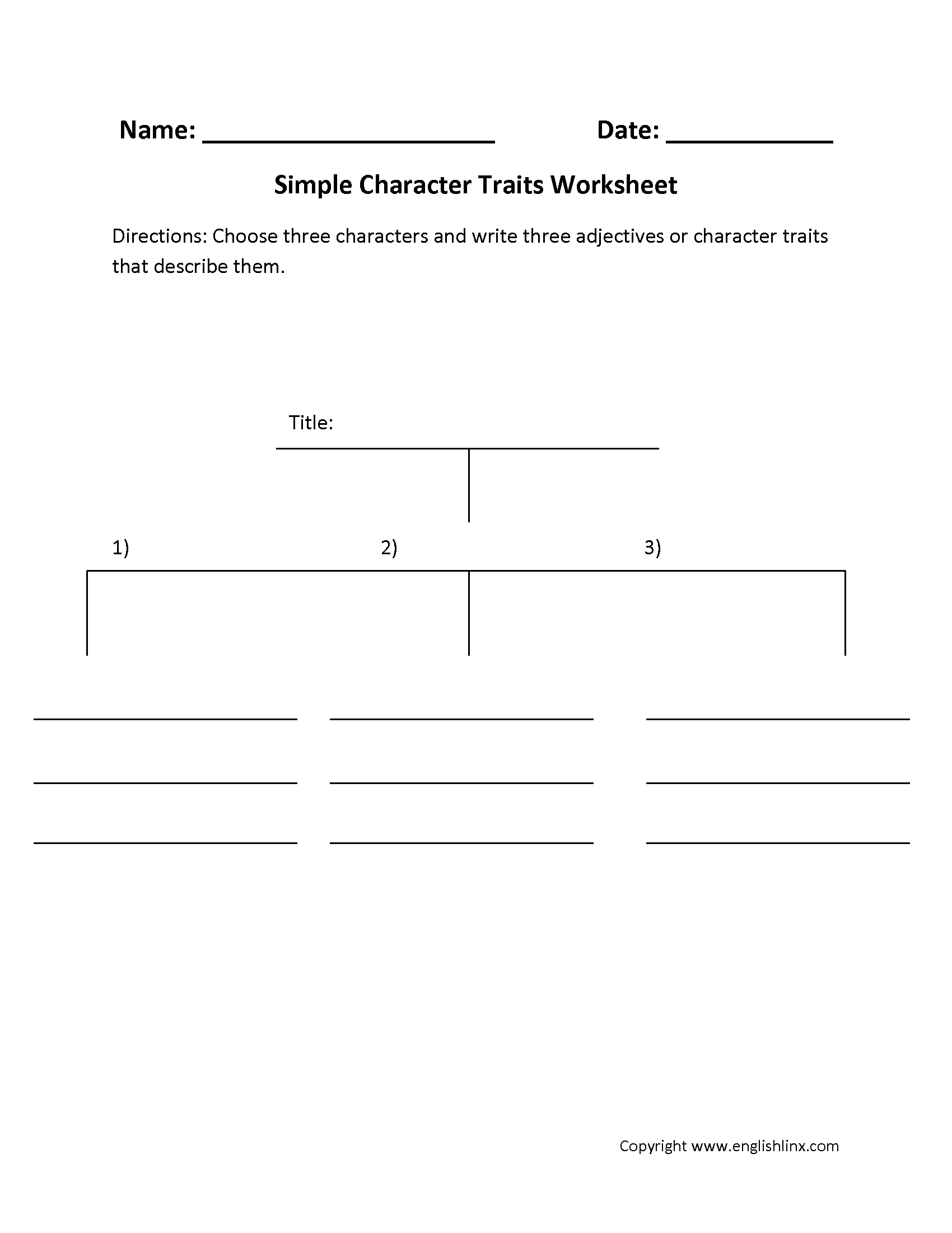 Characterization Worksheet 1 Answer Key