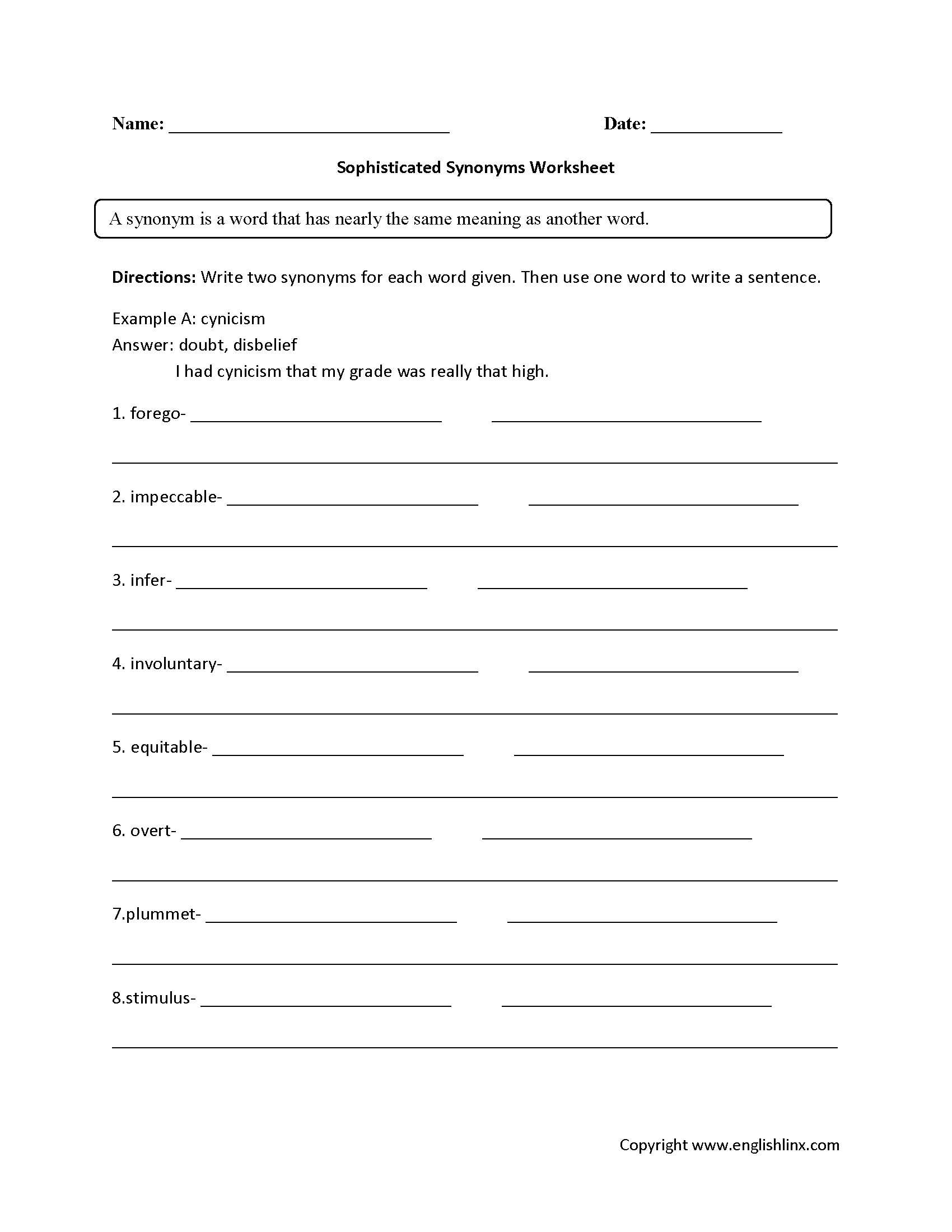 Synonym Worksheet Year 7
