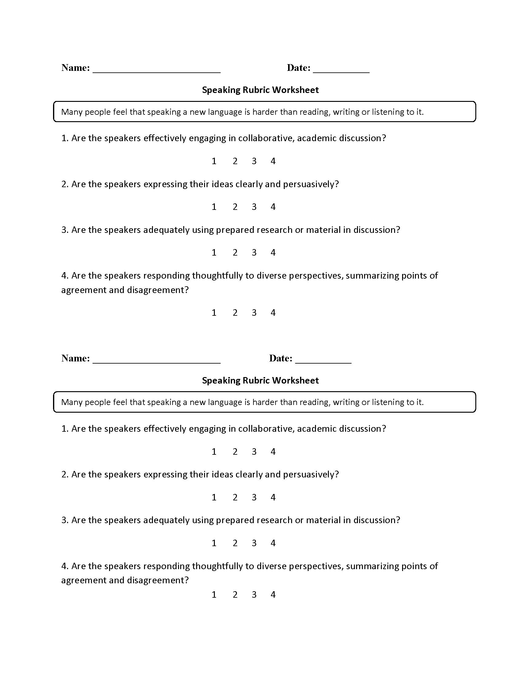 Worksheet English Listening