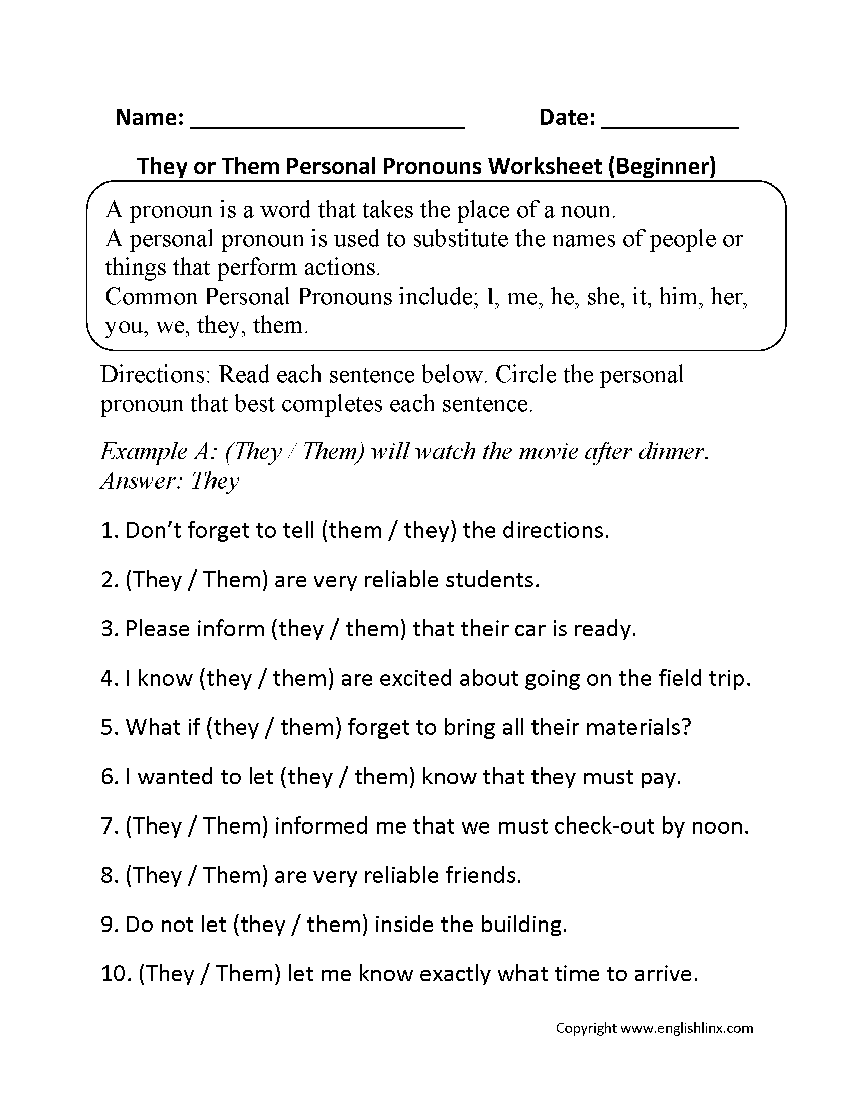 Compound Personal Pronouns Worksheet Grade 5
