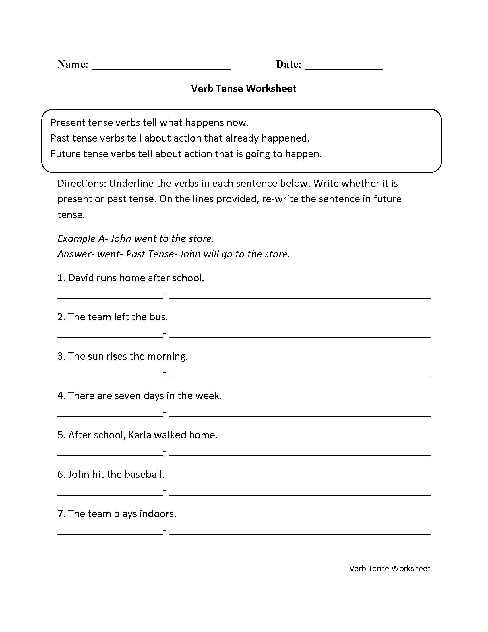 Tenses Worksheet For Grade 6