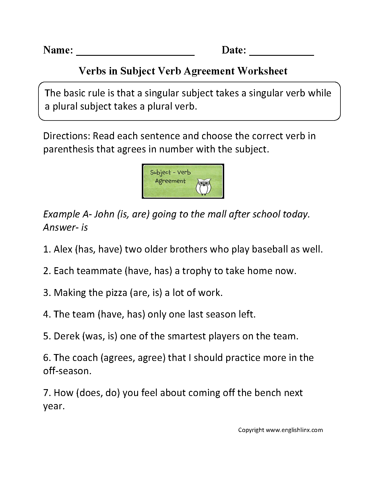 Amazing Grammar Pronoun Verb Agreement Worksheet Pronoun